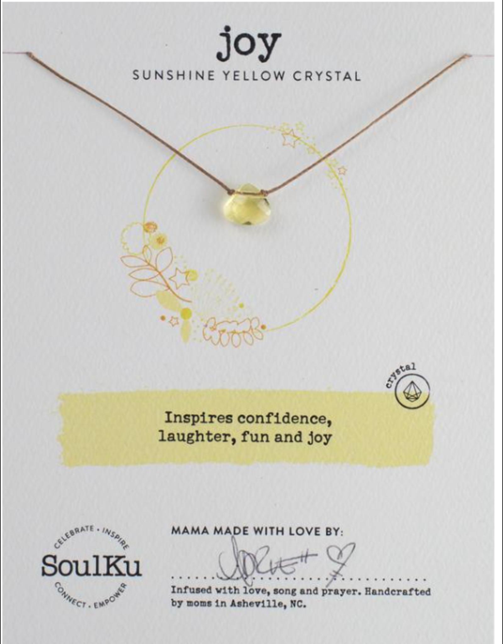 Sunshine Yellow Crystal Necklace For Joy - SoulKu
