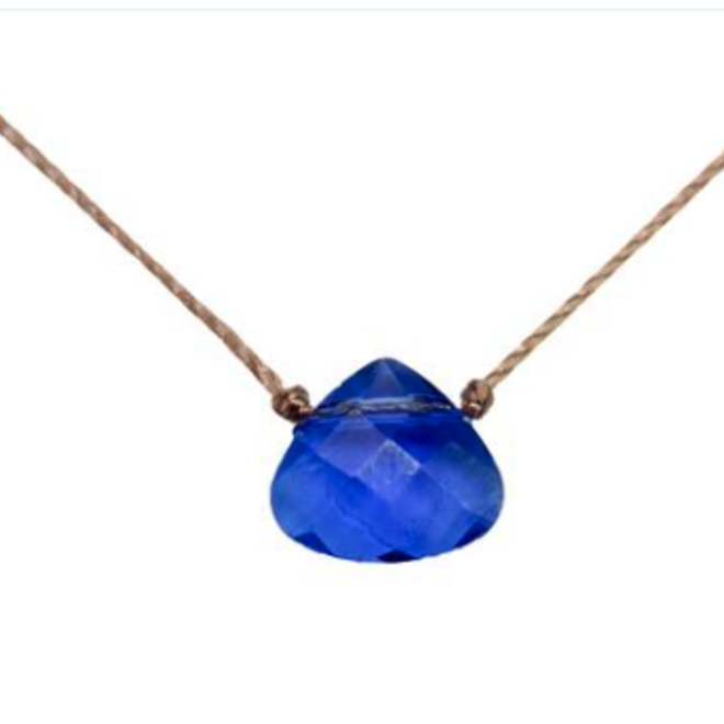 Azure Blue Crystal Teardrop Soul Shine Necklace For Inspiration - SoulKu