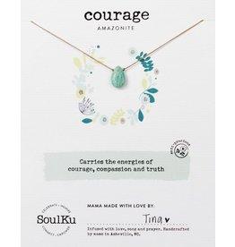 Amazonite Teardrop Necklace for Courage-SoulKu
