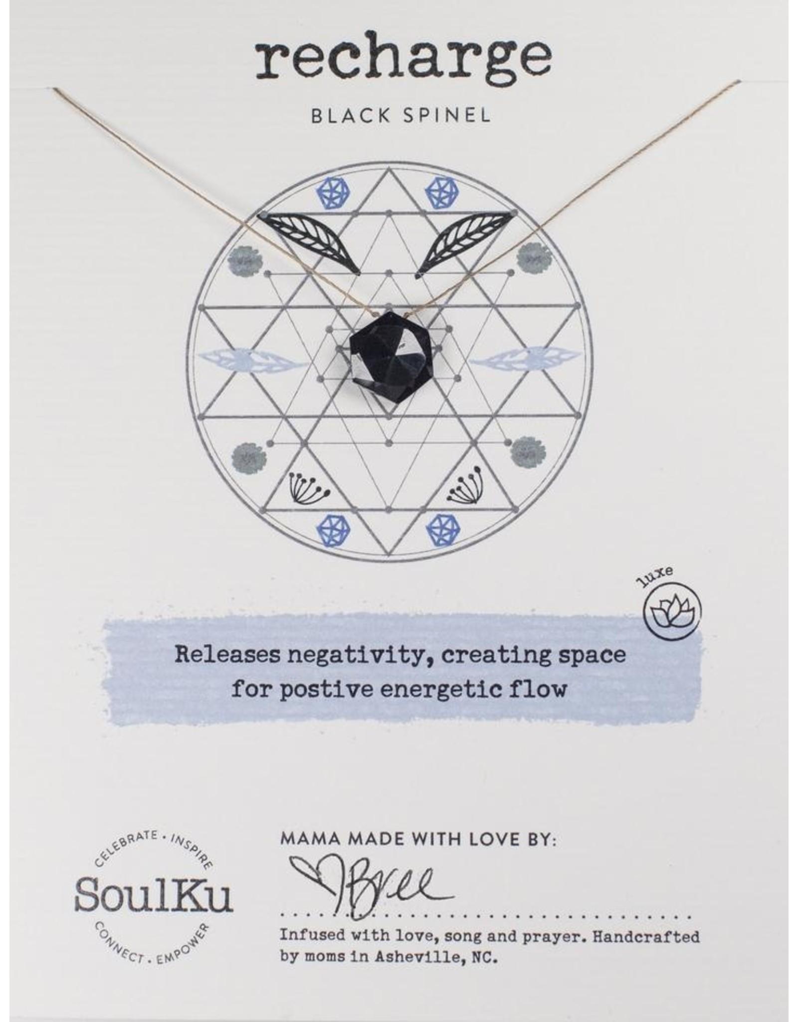 Black Spinel Gemstone Sacred Geometry Necklace to Recharge - SoulKu