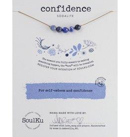 Sodalite 5 Bead Intention Necklace for Self Esteem & Confidence- SoulKu
