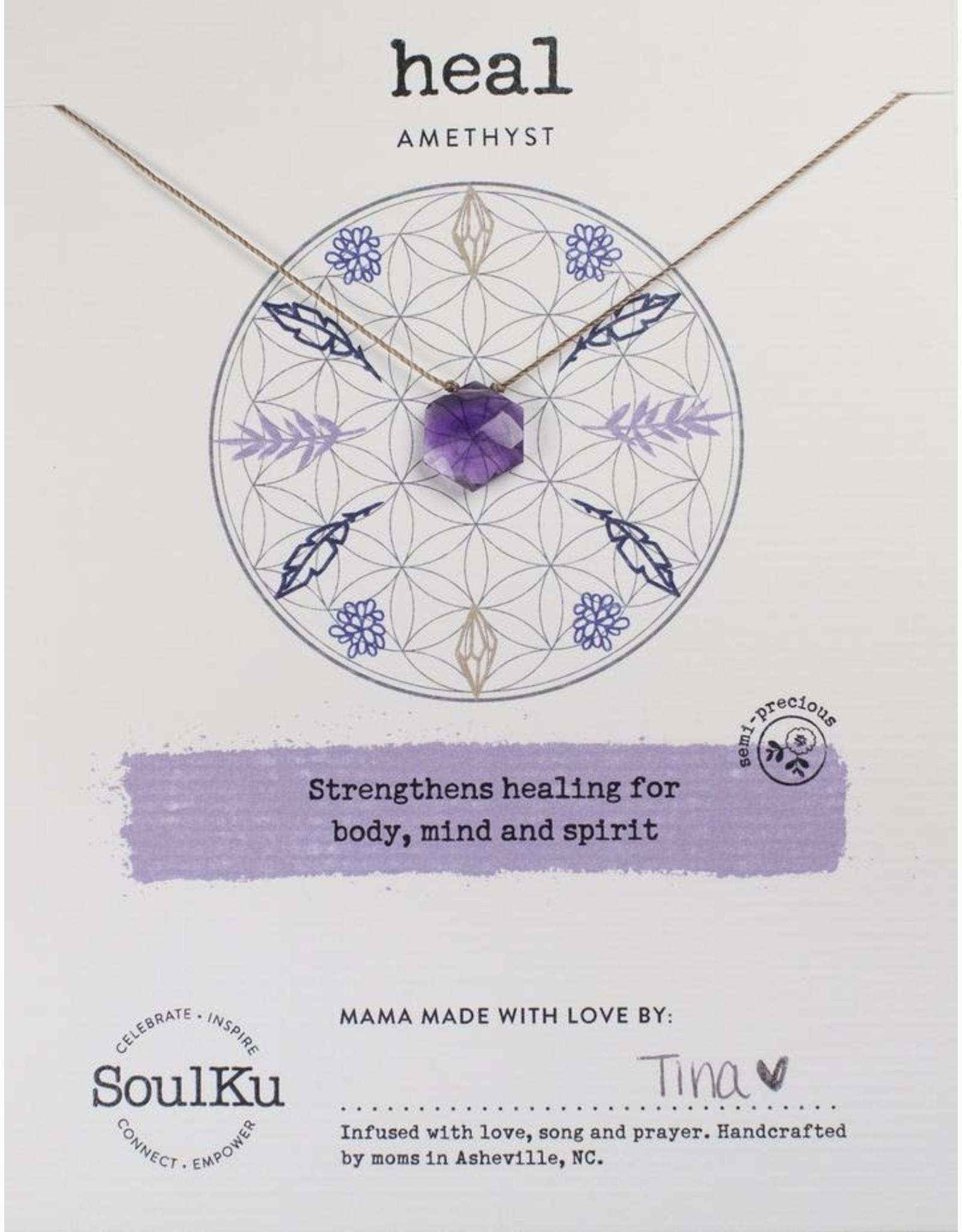 Amethyst Gemstone Sacred Geometry Necklace to Heal - SoulKu