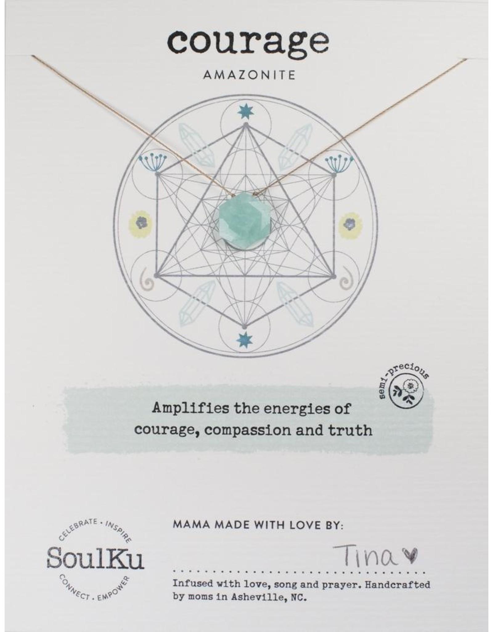 Amazonite Gemstone Sacred Geometry Necklace for Courage - SoulKu