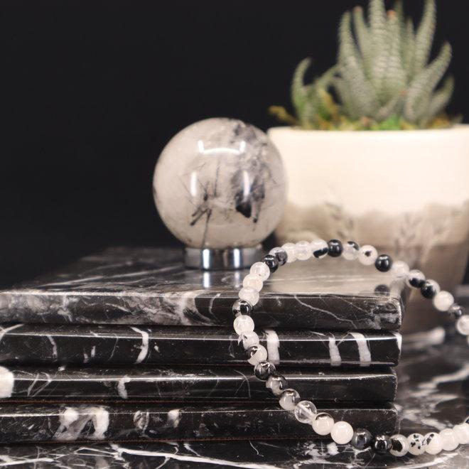 Black Tourmaline w/ Clear Quartz Bracelet (Tourmalated Quartz) - 4 mm