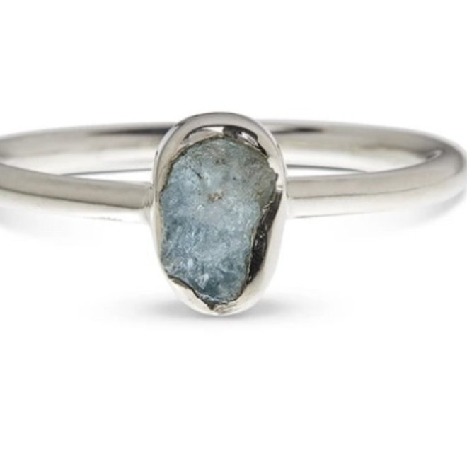 Aquamarine Ring - Size 8 - Sterling Silver