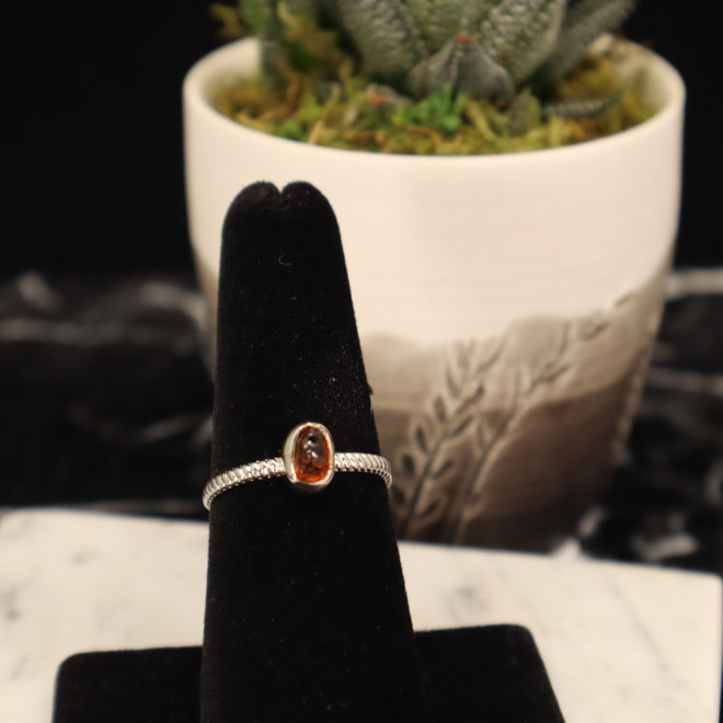 Citrine Ring - Size 10 - Sterling Silver Rough/Raw/Natural