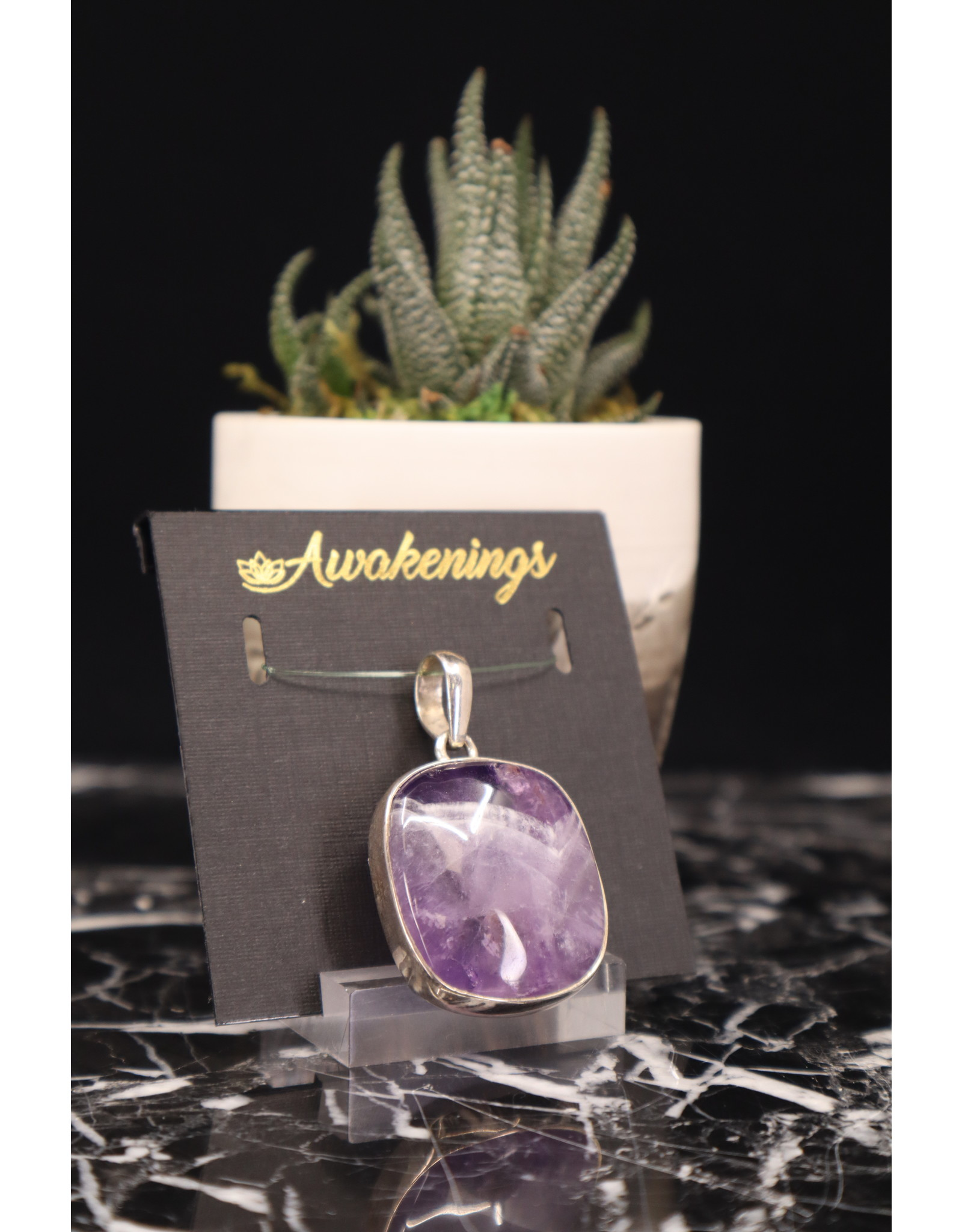 Amethyst Pendant  # 13 -Rounded Square