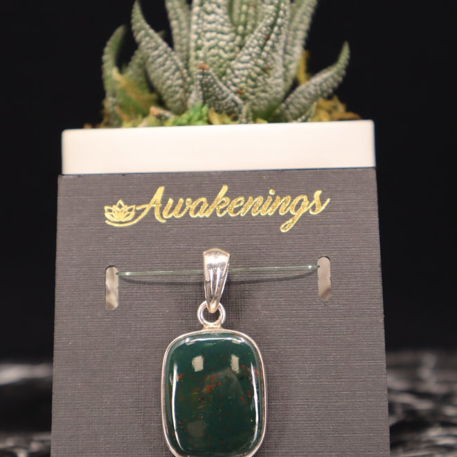 Bloodstone/Heliotrope Pendant #2 - Rounded Square Sterling Silver