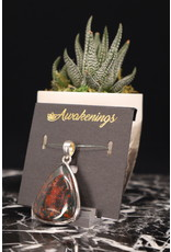 Bloodstone/Heliotrope Pendant #4 - Rounded Triangle Sterling Silver