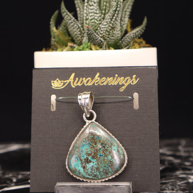Chrysocolla Pendant #3 - Rounded Triangle