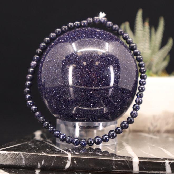 Blue Sandstone/Goldstone Bracelet-4mm