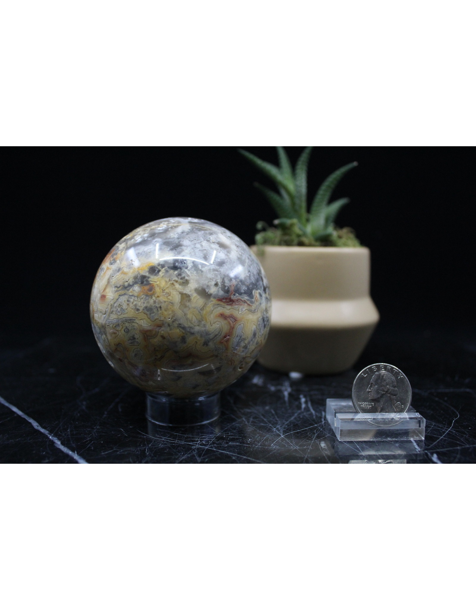 Crazy Lace Agate Sphere Orb-70mm