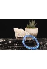 Blue Aura Frosted Mermaid Glass Bracelet -8mm