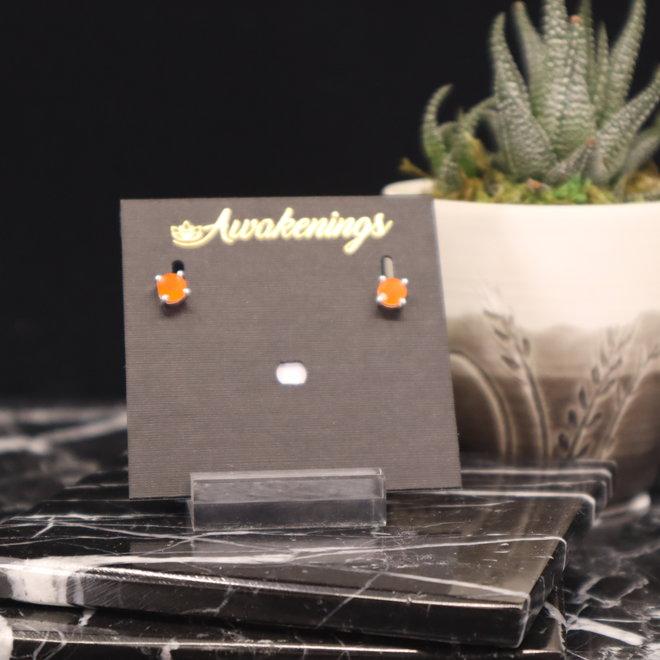 Carnelian Earrings - Dainty Stud