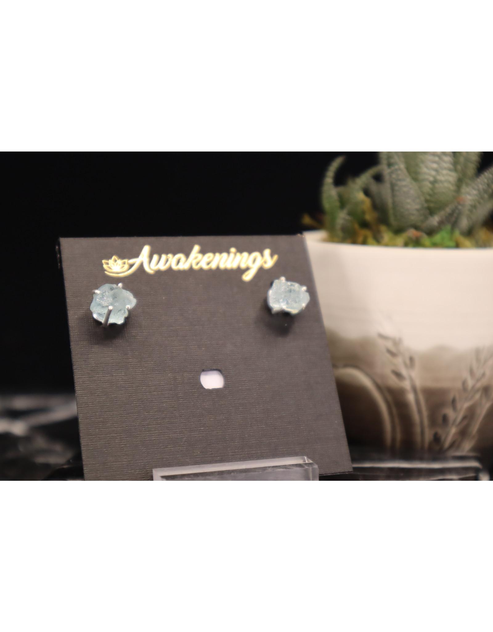 Aquamarine Earrings - Dainty Stud