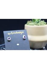 Amethyst Earrings - Dainty Stud (Pear 2)