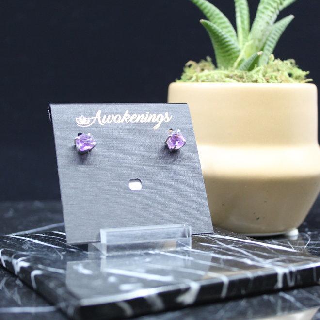 Amethyst Earrings - Dainty Stud