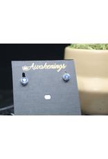 Blue Kyanite Earrings - Dainty Stud (Round)