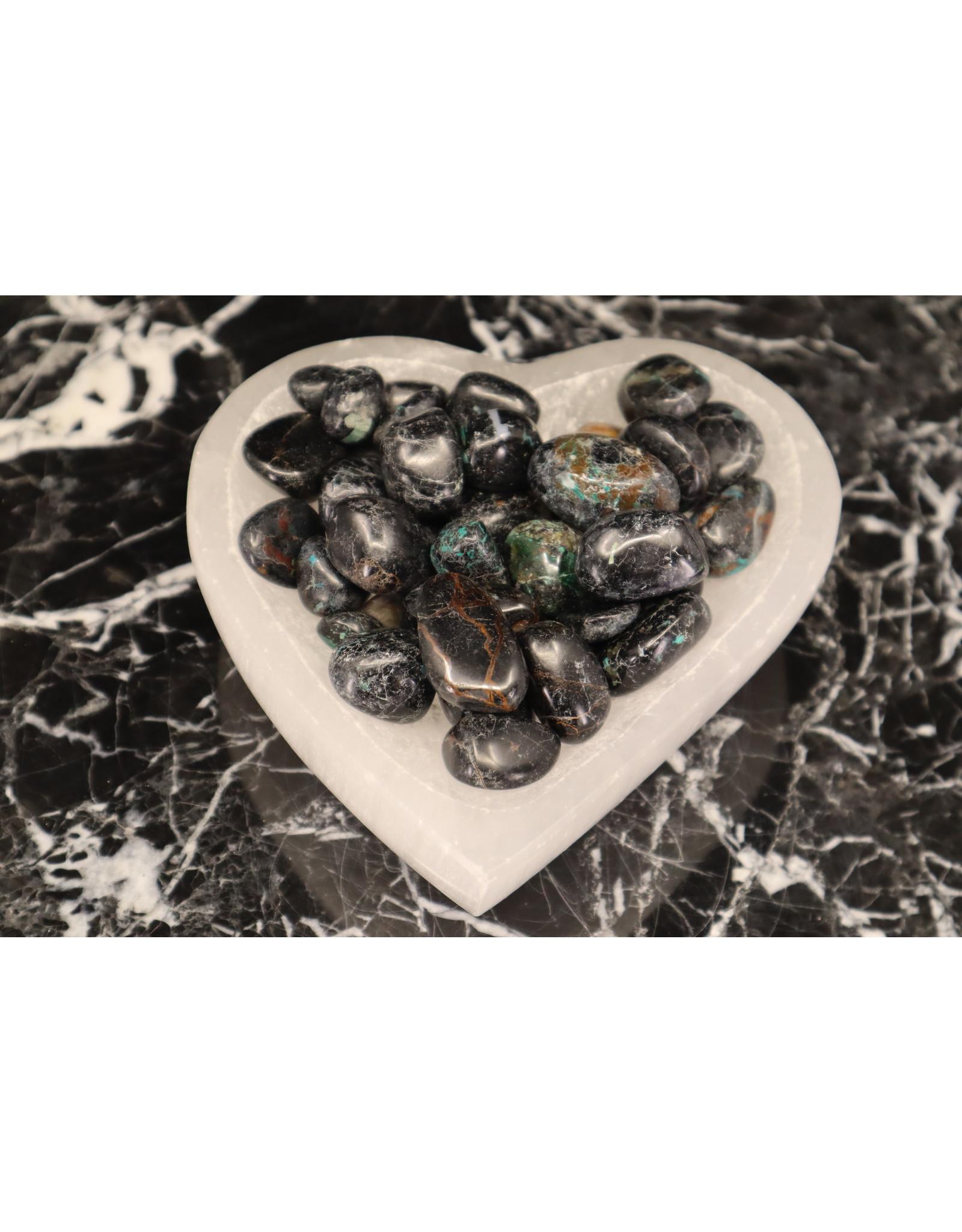 Black Tourmaline w/ Chrysocolla - Tumbled