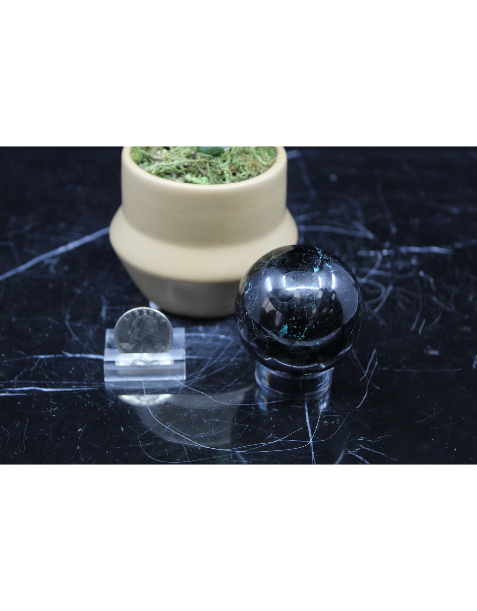 Black Tourmaline w/ Chrysocolla Sphere Orb - 50mm