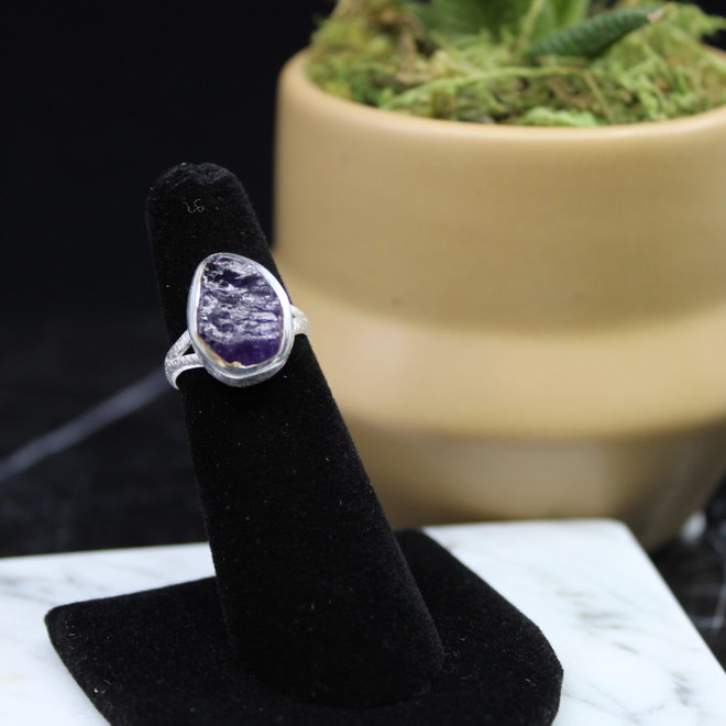 Amethyst Ring - Size 8 - Sterling Silver Raw/Rough/Natural Textured