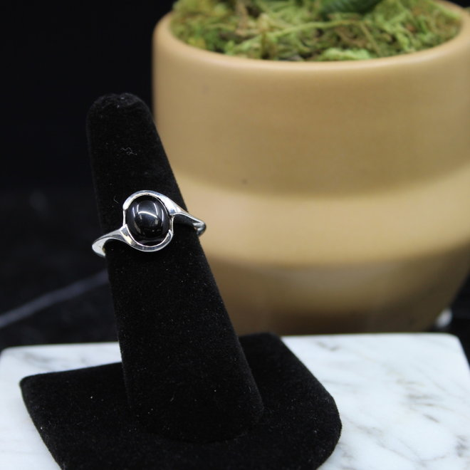 Black Onyx Ring - Size 5 - Sterling Silver Oval