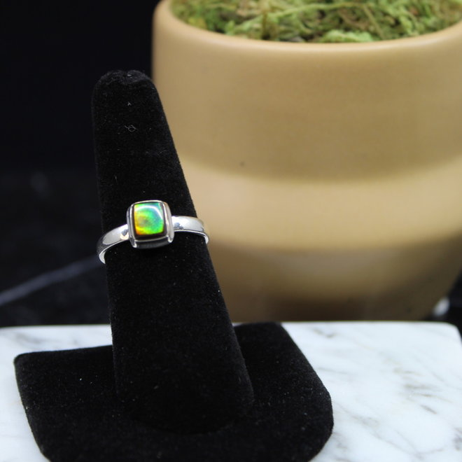 Ammolite Ring - Size 7 - Sterling Silver Square