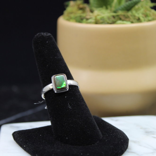 Ammolite Ring - Size 8 - Sterling Silver Small Square