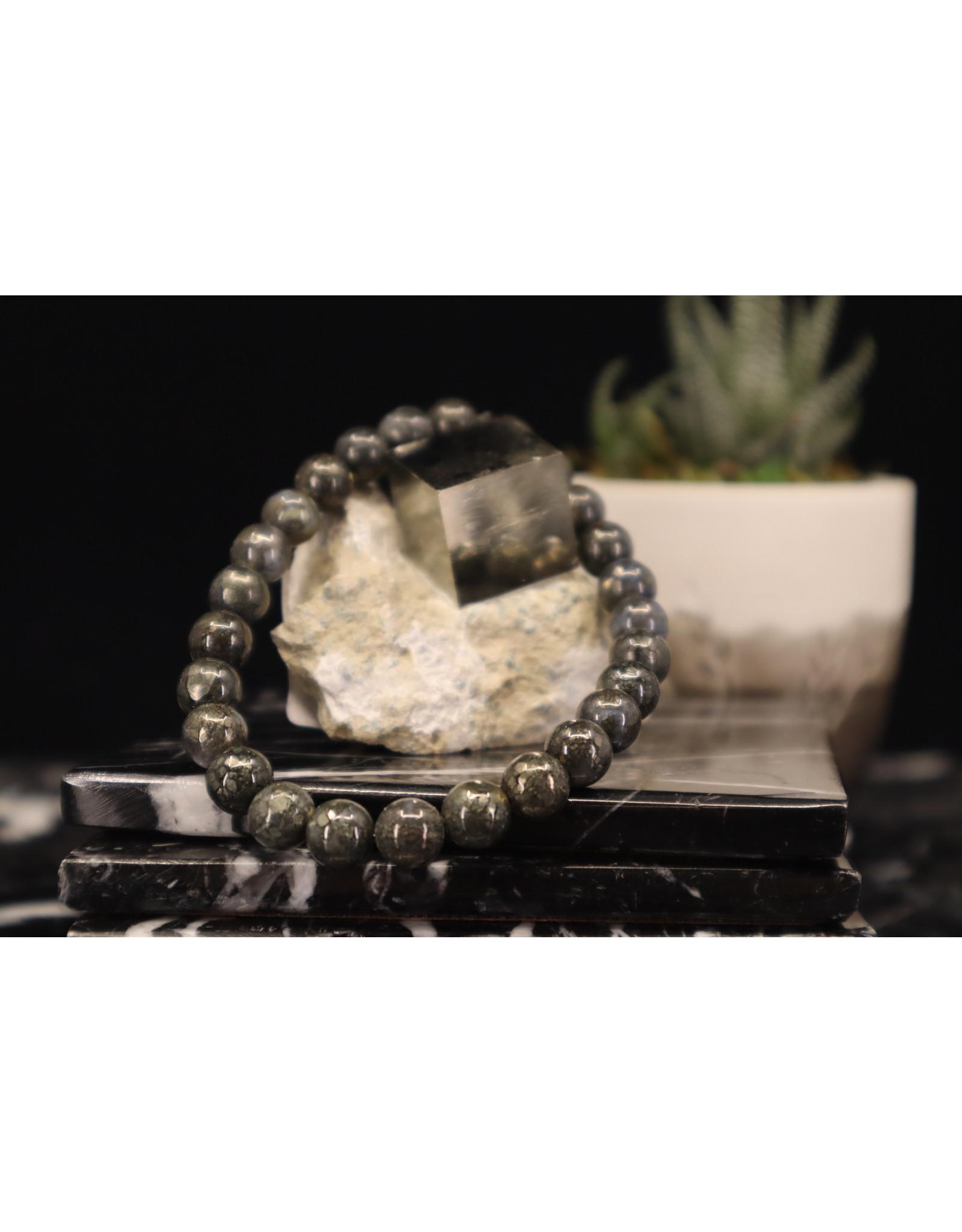 AAA Grade Nipomo Marcasite Agate Bracelet-8mm