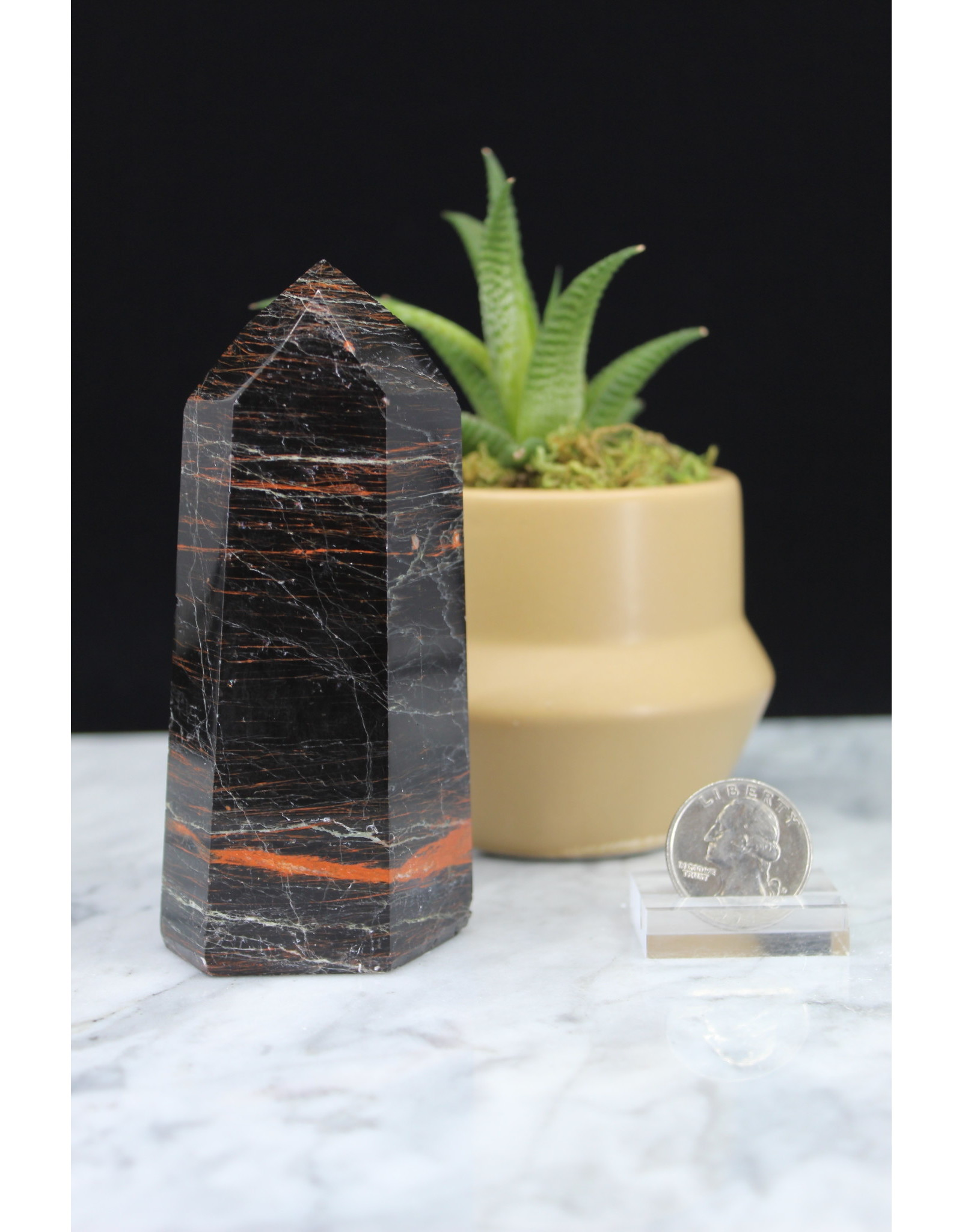 Black Tourmaline with Red Hematite Tower Point-Large