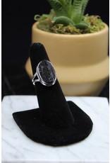 Black Tourmaline Ring (Oval) - Size 7