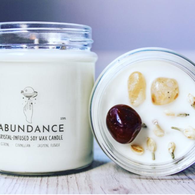 Soy Wax Crystal Candle  -Abundance