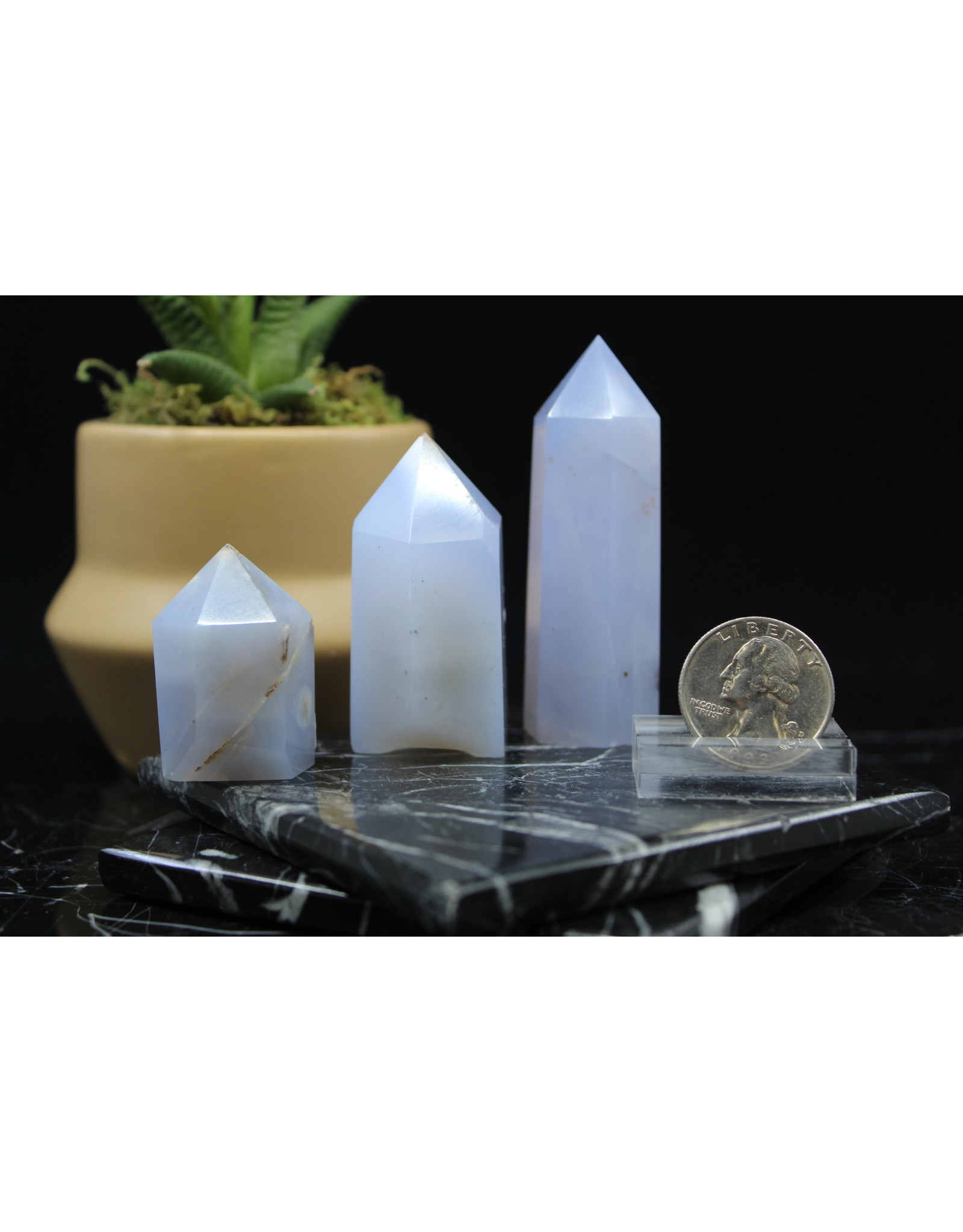 """Blue Chalcedony Tower Point-Small (2-3"""")"""