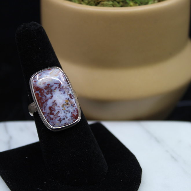 Agate Ring - Size 8 - Sterling Silver Rectangle