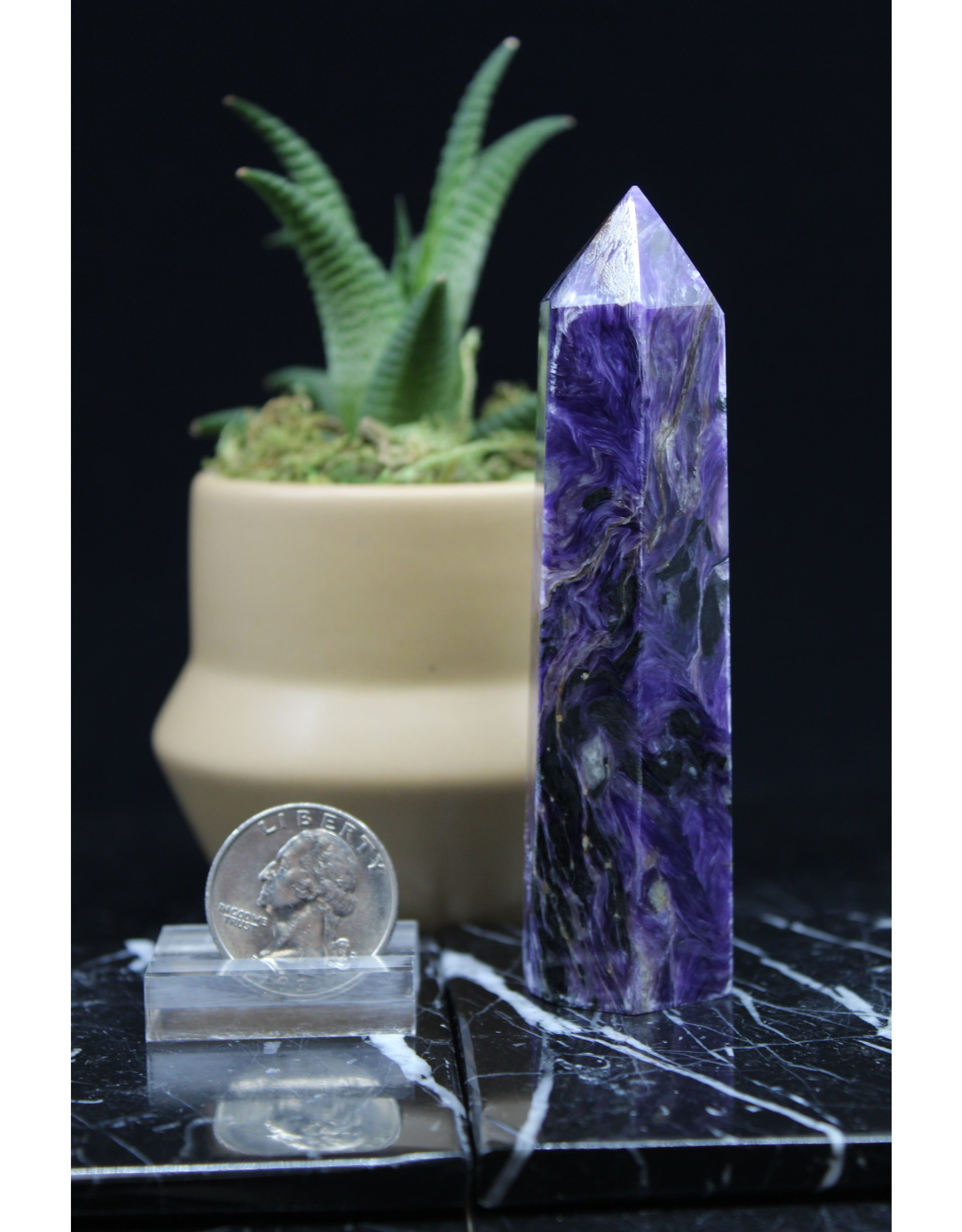 """Charoite Tower Point-Large (3-5"""")"""