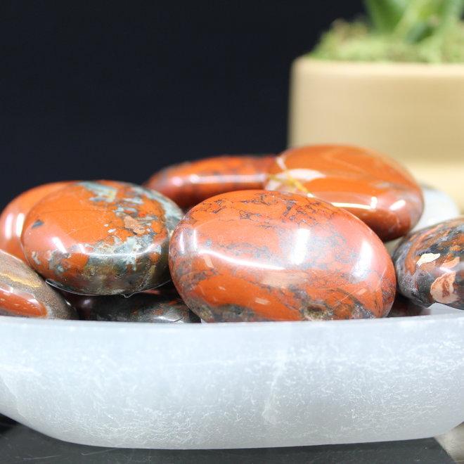 Brecciated Red Jasper Palm/Pillow/Pocket  Stone