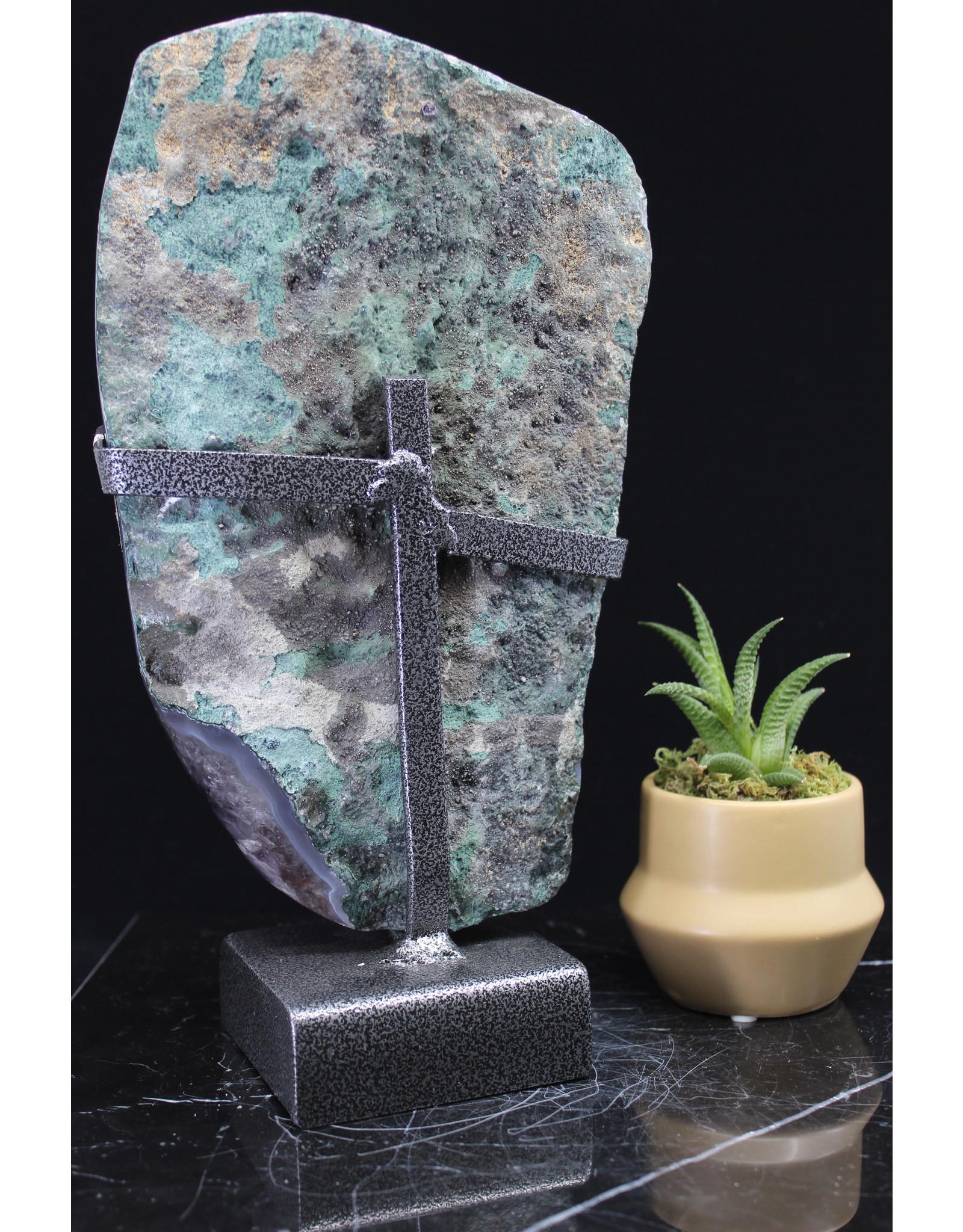 Amethyst Druzy Cluster on Metal Stand #1