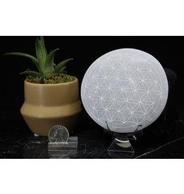 Selenite/Satin Spar Flower/Seed of Life-Round Charging Plate/Disk