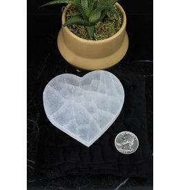 "Selenite/Satin Spar Flat Heart Charging Plate-3.5"""