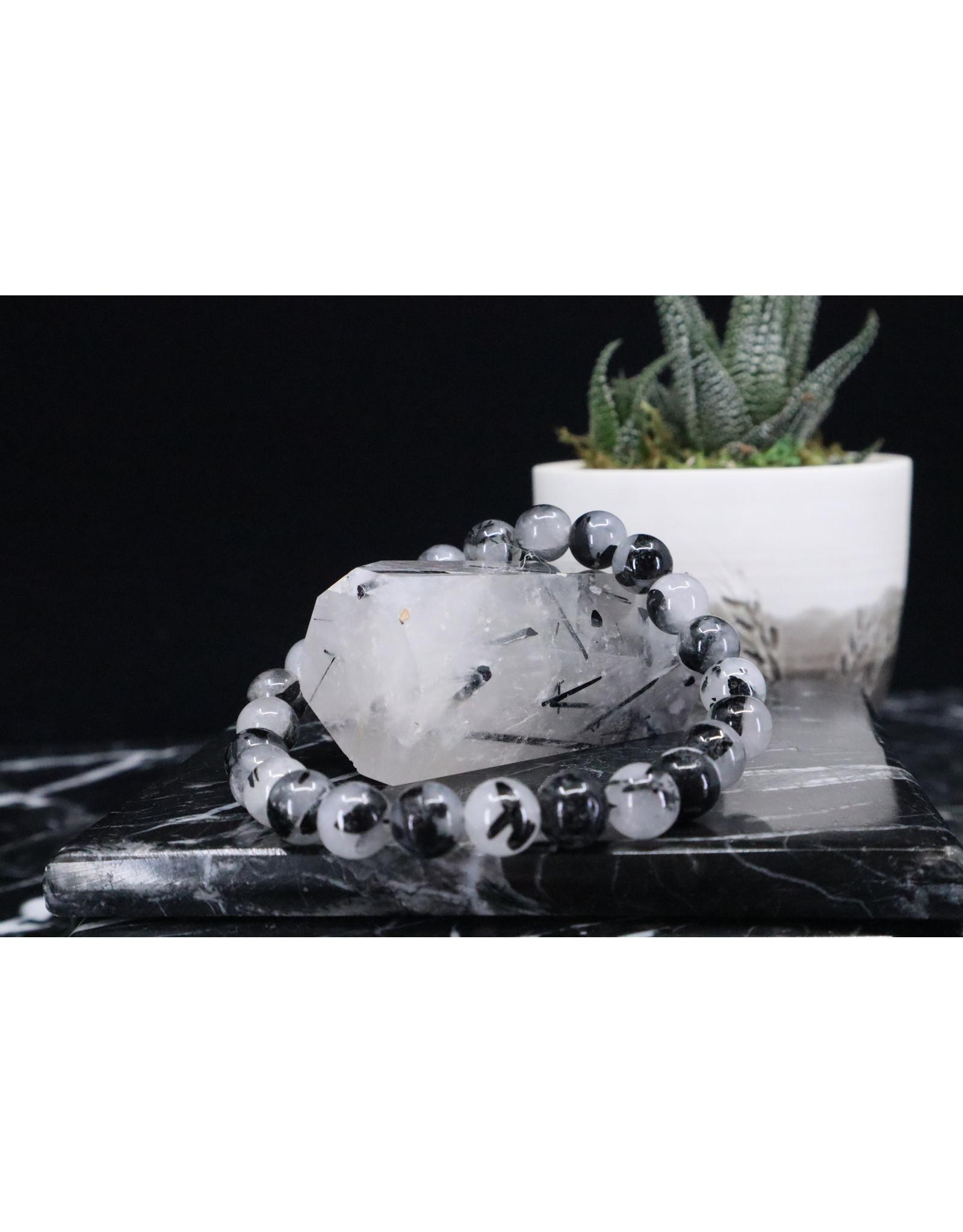 Black Tourmaline w/ Clear Quartz Bracelet (Tourmalated Quartz) - 7mm