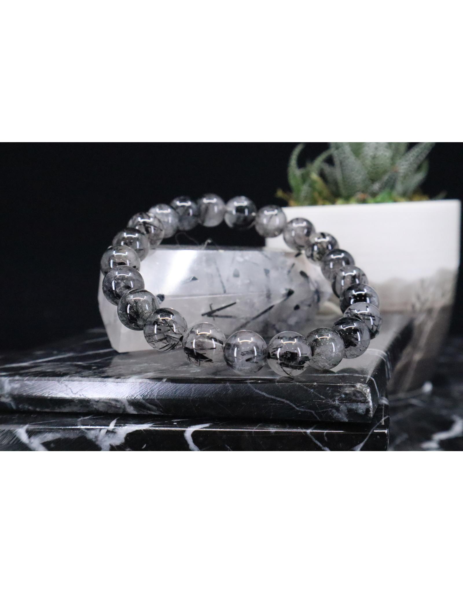 Black Tourmaline w/ Clear Quartz Bracelet (Tourmalated Quartz) - 8mm