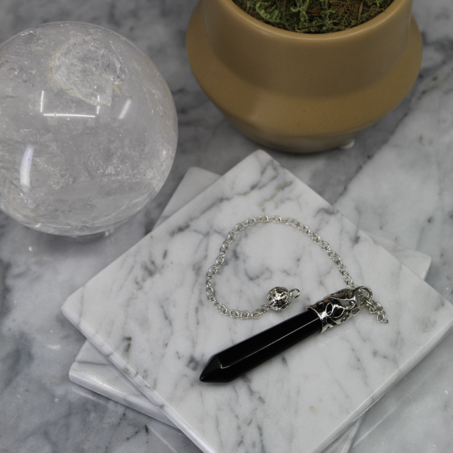 Black Obsidian Silver Capped Pendulum