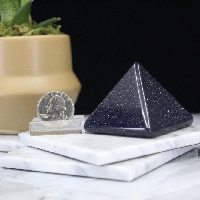 Blue Sandstone/Goldstone Pyramid -Large