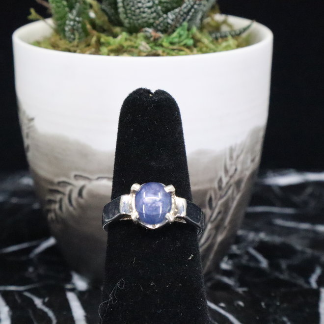 Blue Star Sapphire Ring - Size 5.5