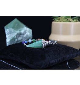 Green Aventurine Silver Antique Capped Chakra Beaded Pendulum Beaded