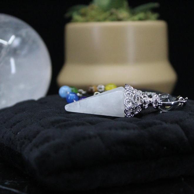 Clear Quartz Silver Antique Capped Chakra Beaded Pendulum