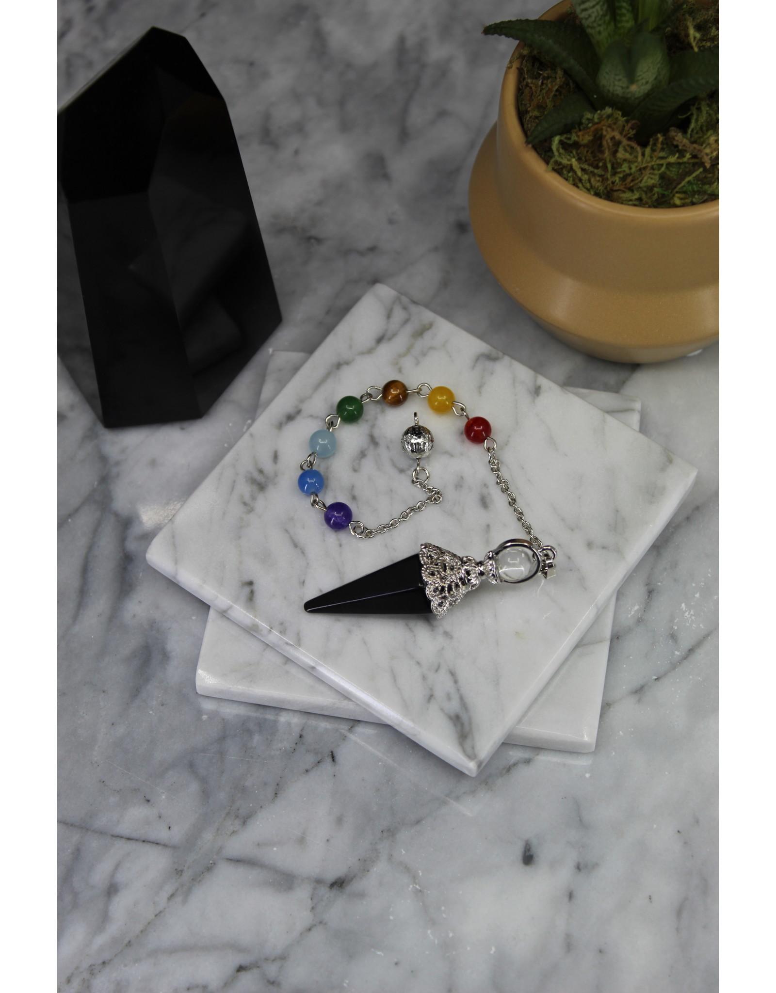 Pendulum -Black Obsidian Silver Antique Capped Chakra Beaded