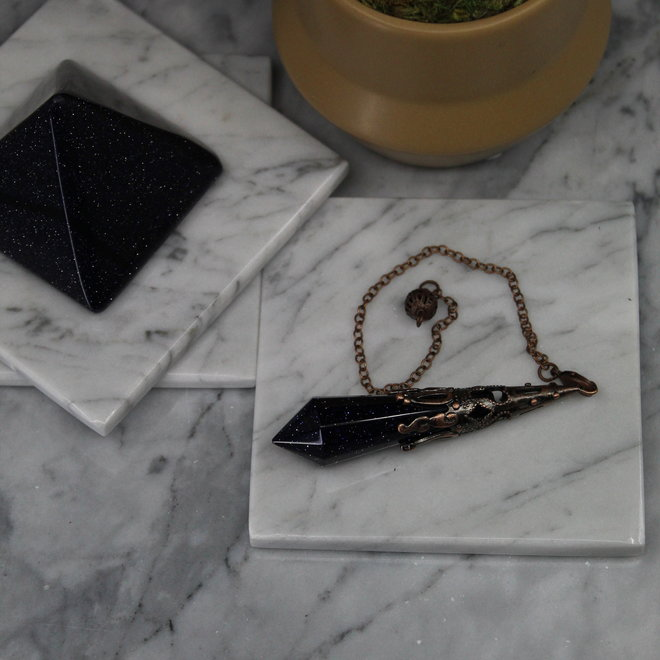 Blue Sandstone/Goldstone Antique Bronze Pendulum