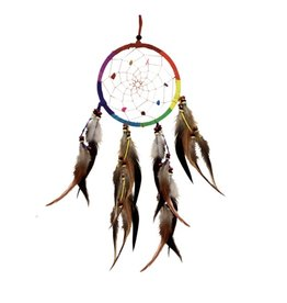 """Single Rainbow Dreamcatcher w/beads 4.5"""""""