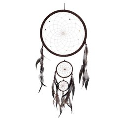 "Medium Brown Triple DreamCatcher w/beads 4.5"""